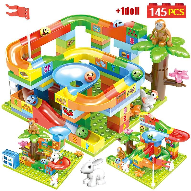145PCS City Marble Race Run Maze Balls Big Building Blocks Duploed  Jungle Slides Track Figures Bricks Toys for Kids